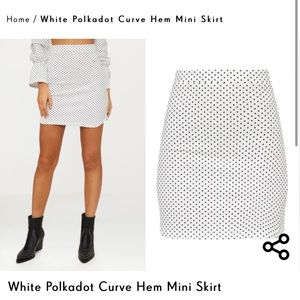 White Polka Dot Mini Skirt